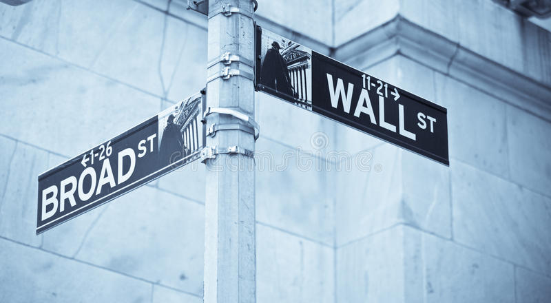 Wall Street Road Sign Corner Of NY Stock Exchange Editorial Image