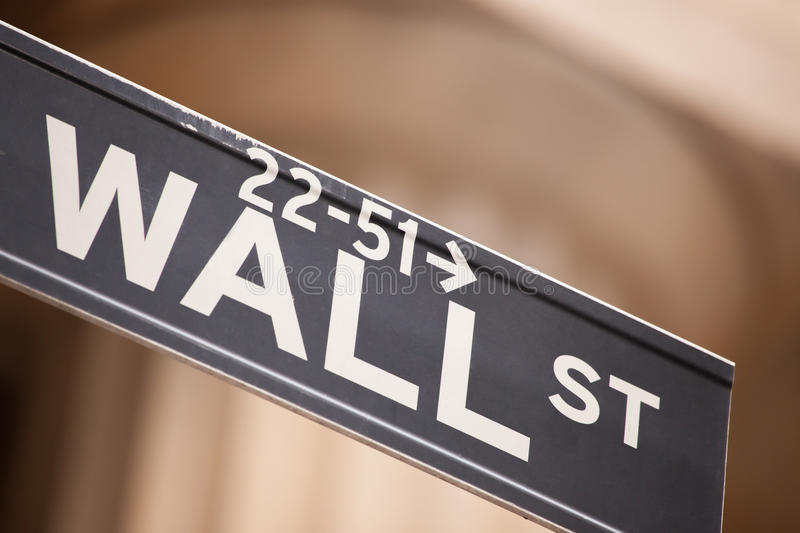 Wall street. Road sign for wall street in New York City stock photo