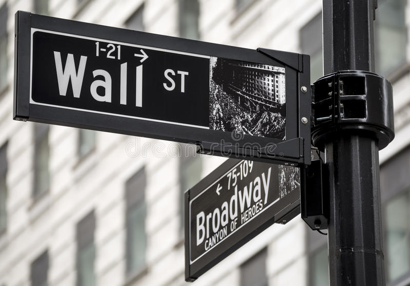 Wall Street. Street sigh in Manhattan New York, USA royalty free stock image