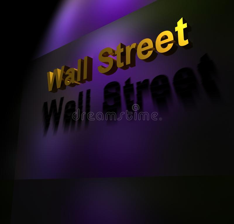 Wall Street sign. A lit Wall Street sign in purple, gold and black signifying the financial district and stock exchange in New York, USA royalty free stock photo