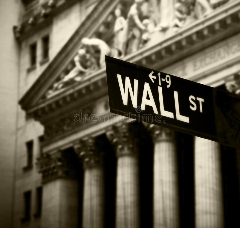 Wall Street sign. In lower Manhattan New York royalty free stock images