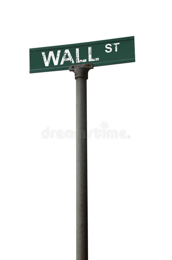 Wall street sign. Over a white background stock photography