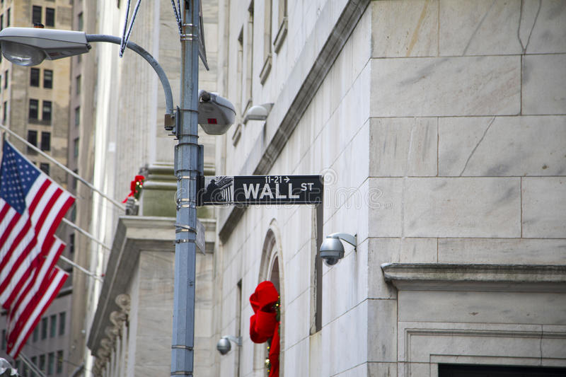 Wall Street Sign. With American flags in the background stock photo