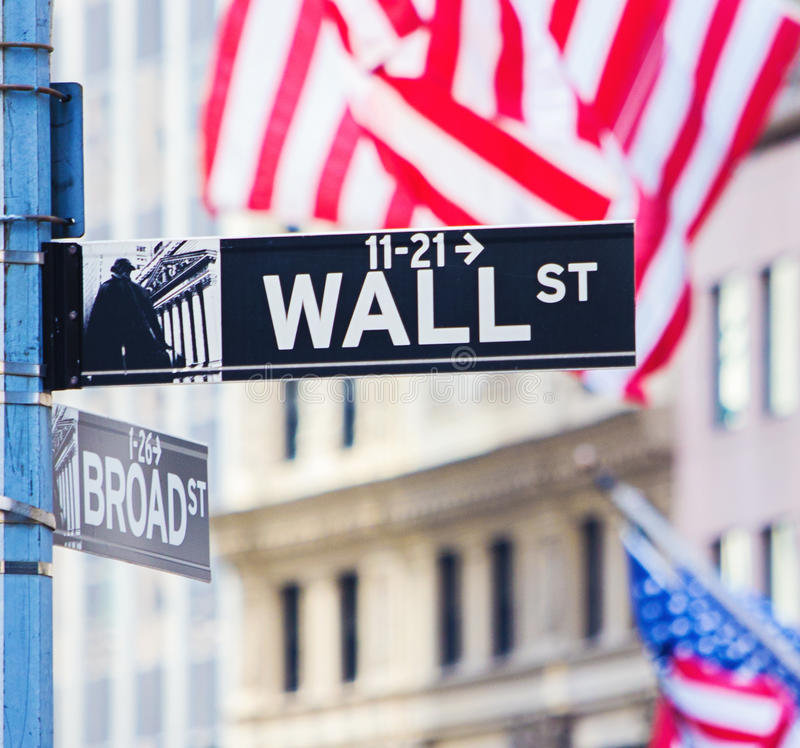 Wall street sign. Wall with broad street sign New York royalty free stock image