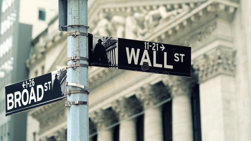 Wall Street sign in lower Manhattan New York royalty free stock photos