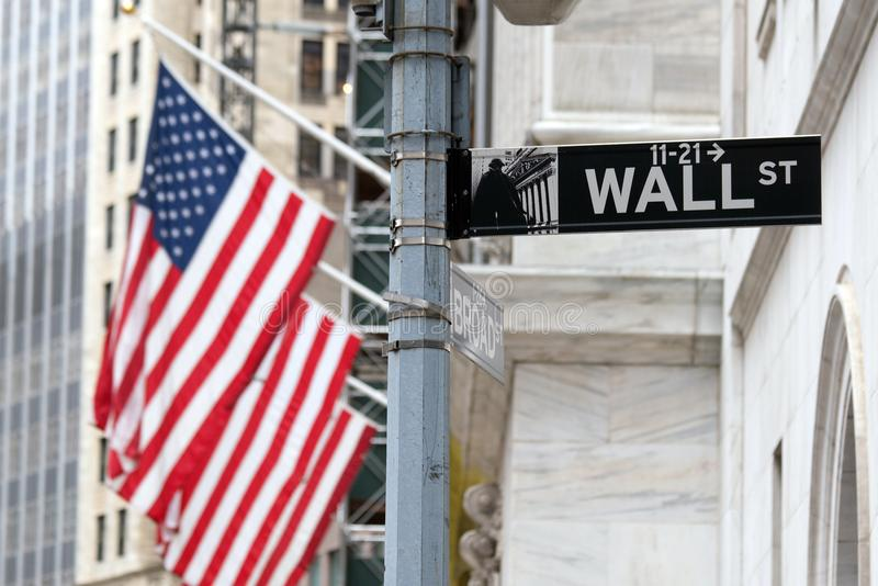 Wall Street sign in lower Manhattan New York royalty free stock photo