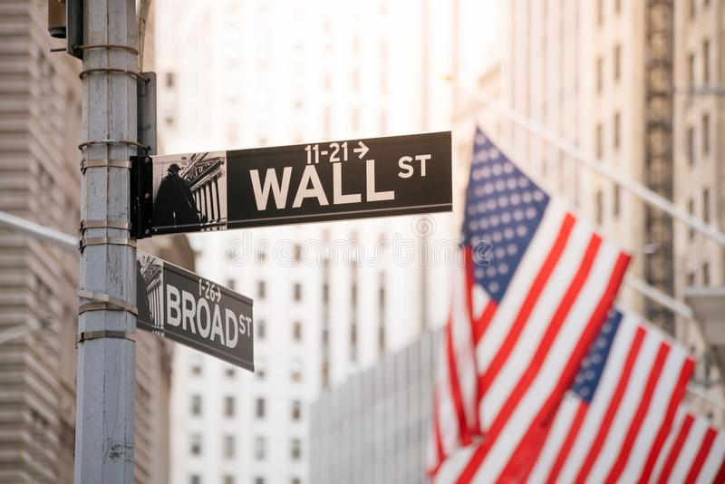 Wall Street sign in lower Manhattan New York stock photography