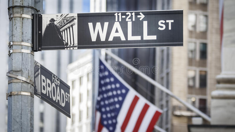 Wall Street. Street sign in manhattan, New York, USA royalty free stock images