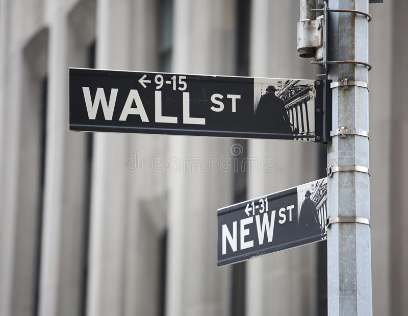Wall street sign. Wall with new street sign New York stock photo