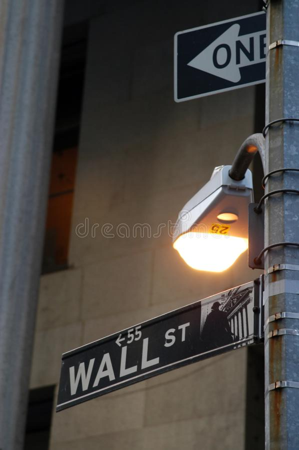 Wall Street Street Sign, New York City stock images