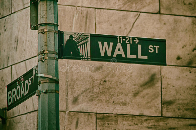 Wall Street Sign. Wall Street, New York, USA royalty free stock image