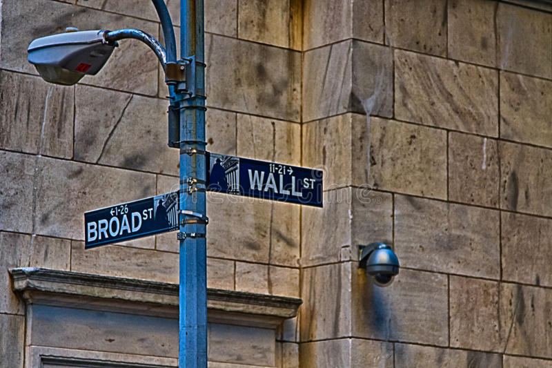 Wall Street Sign. Wall Street, New York, USA stock images