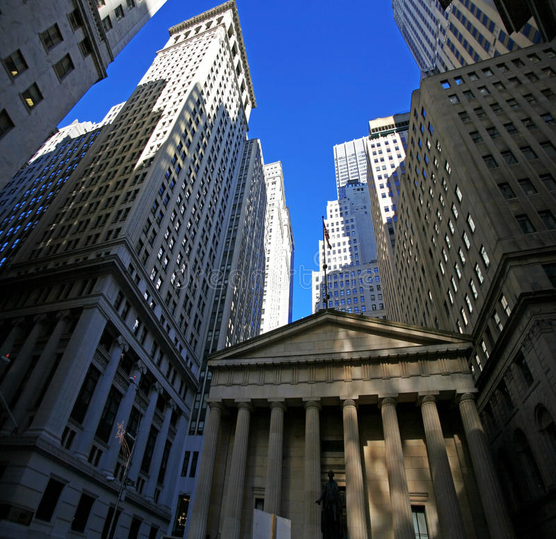 Wall street, skyscrapers in Manhattan royalty free stock photography