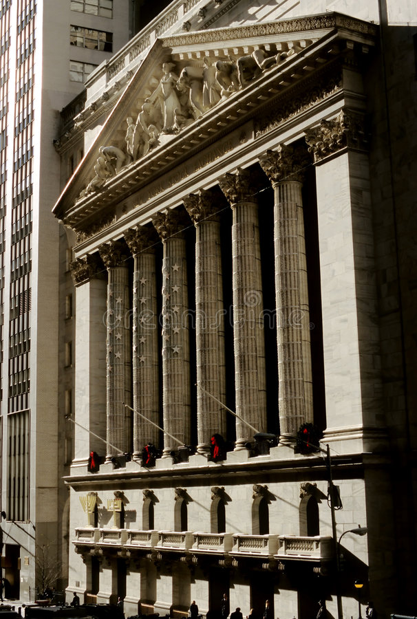 Wall Street Stock Exchange. This image shows the wall street stock exchange in new york, USA at Christmas time royalty free stock photos