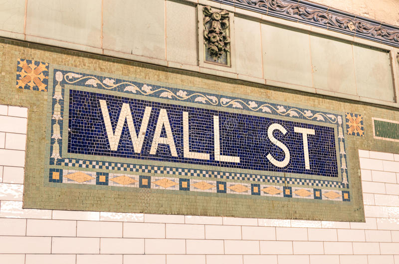 Wall Street subway mosaic sign - New York City underground royalty free stock images