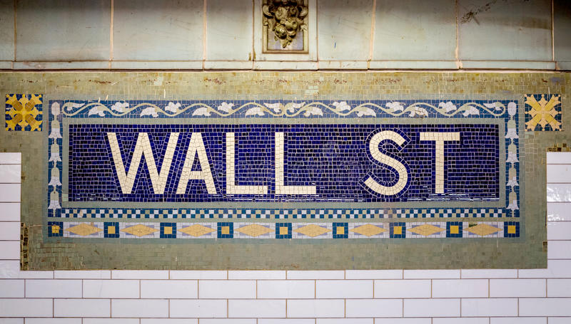 Wall street subway sign tile pattern royalty free stock photography