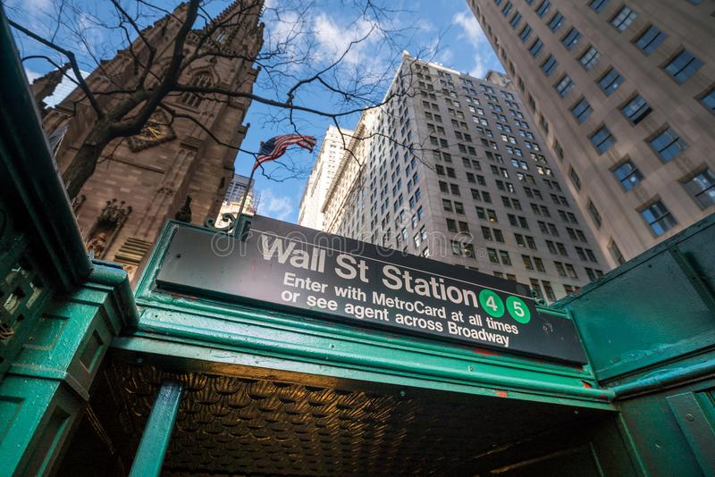 Wall street subway station in New York City royalty free stock image