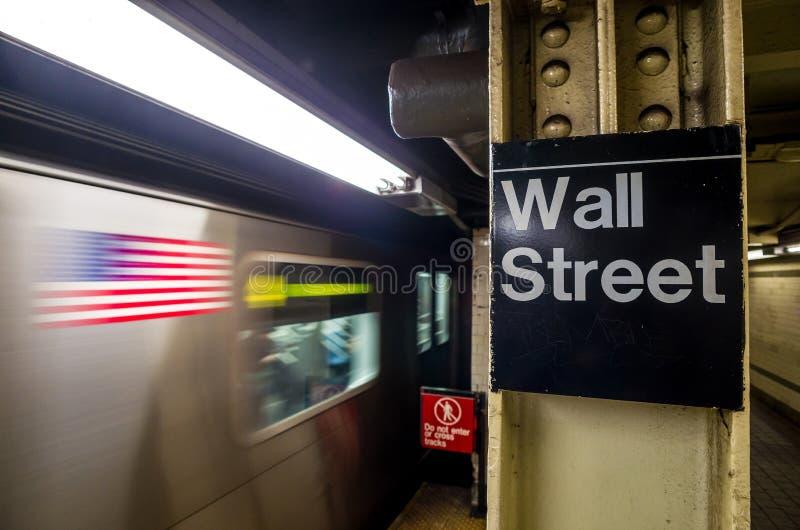 Wall Street U-Bahnzeichen lizenzfreie stockfotografie