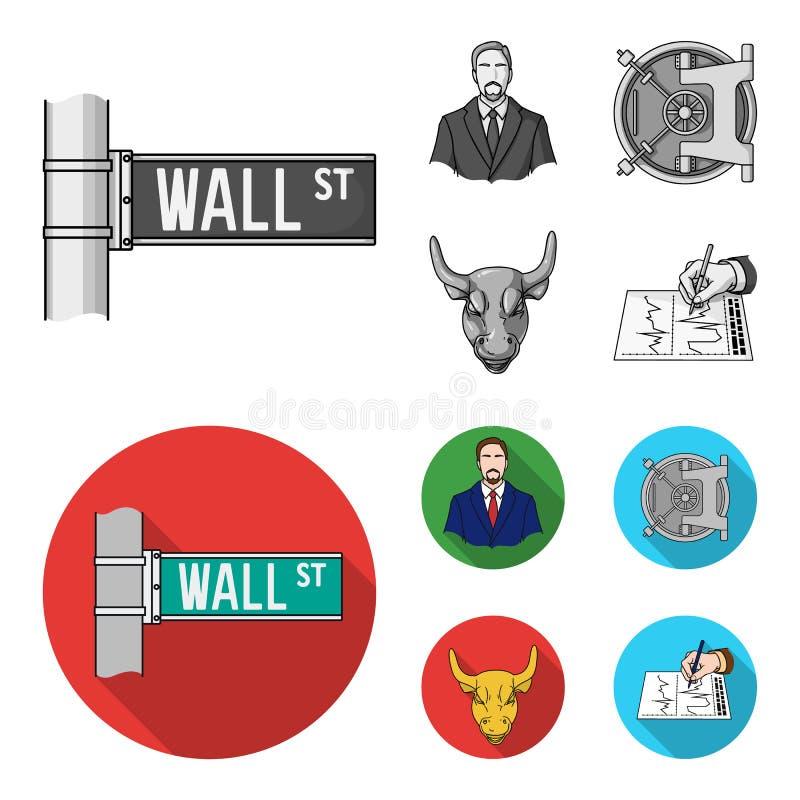 Wall Street, un uomo d'affari, una volta di banca, un toro di carico dell'oro Soldi ed icone stabilite della raccolta di finanza  illustrazione di stock
