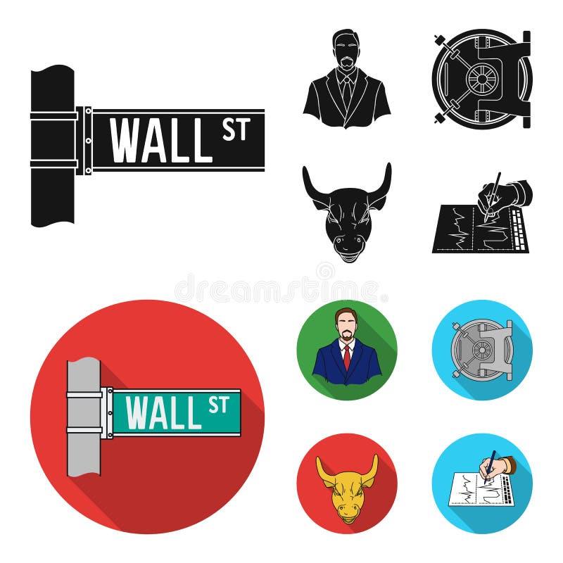 Wall Street, un uomo d'affari, una volta di banca, un toro di carico dell'oro Soldi ed icone stabilite della raccolta di finanza  illustrazione vettoriale