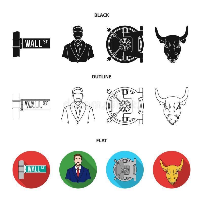 Wall Street, un uomo d'affari, una volta di banca, un toro di carico dell'oro Soldi ed icone stabilite della raccolta di finanza  royalty illustrazione gratis