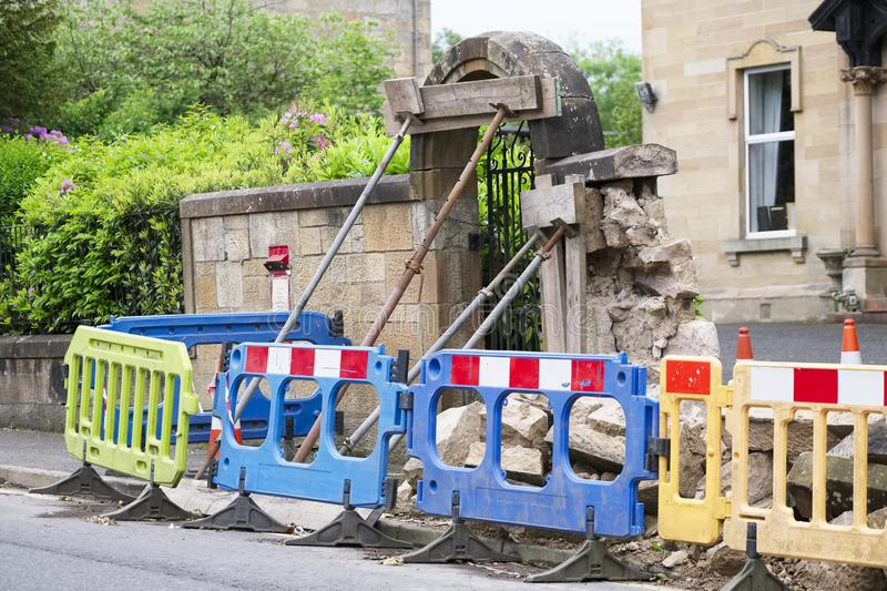 Wall structure collapse anchor prop support scaffold pole and barrier stock images