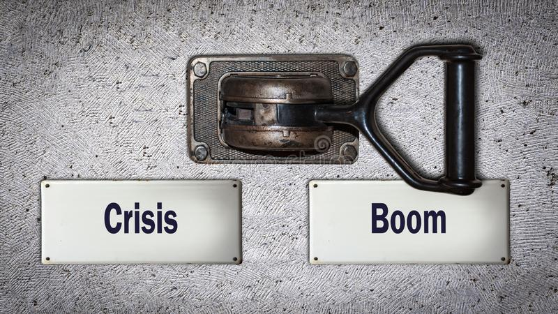 Wall Switch Boom versus Crisis. Wall Switch the Direction Way to Boom versus Crisis stock images