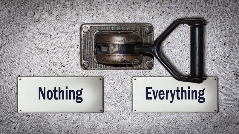 Wall Switch Everything versus Nothing stock illustration