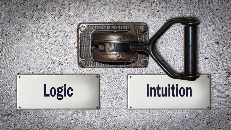 Wall Switch Intuition versus Logik stockbilder