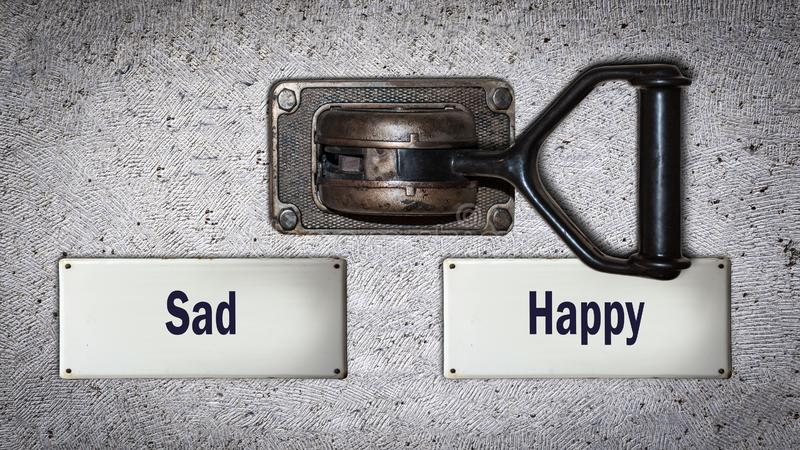 Wall Switch to Happy versus Sad. Wall Switch the Direction Way to Happy versus Sad stock photos