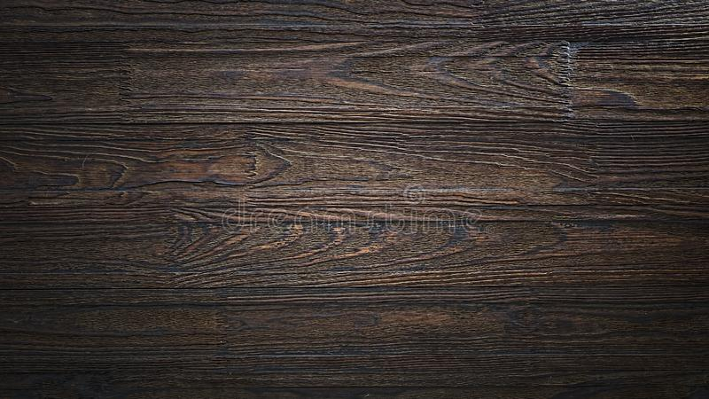 Wall, table, dark brown, brown wood, planks, cocina, fondo, wooden shelf, twinkle lights, wooden counter, wood texture. Wooden background. Empty  wooden royalty free stock photography