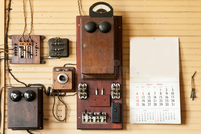Wall of Telephone Equipment in Train Depot royalty free stock image