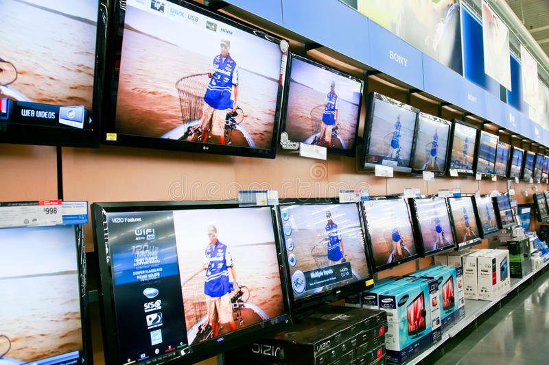 Wall of Televisions at Store stock photos