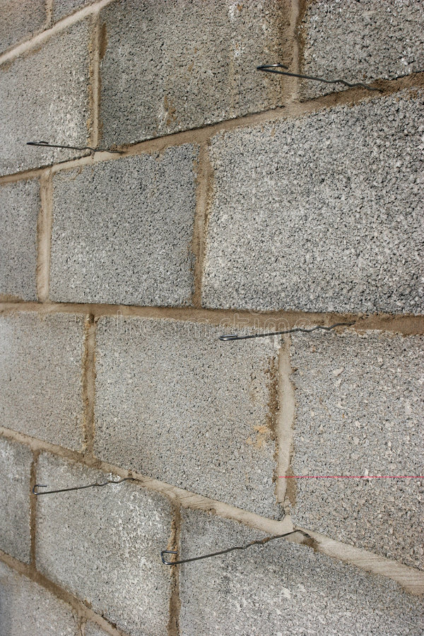 Wall Ties In Concrete Blocks Stock Image