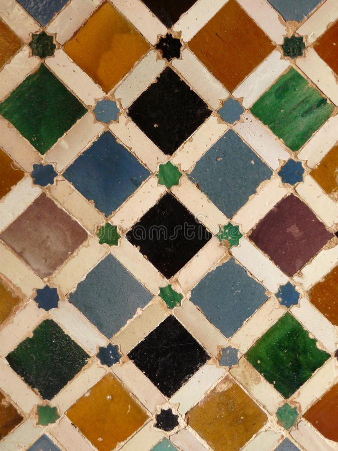 Wall tiles at the Alhambra in Granada, Spain royalty free stock images