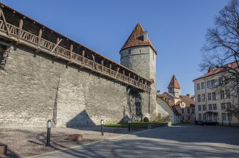 Wall with towers in Tallinn old town, Estonia stock photos