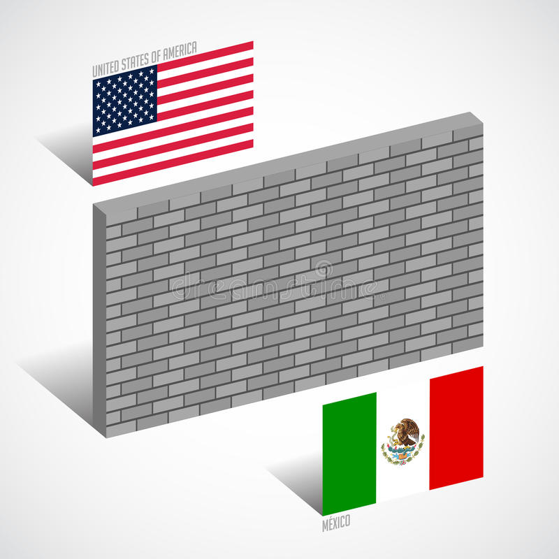 Wall between the United States and Mexico, border wall concept stock illustration