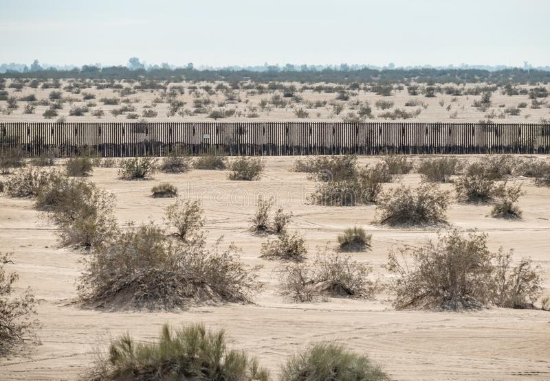 Border wall at the Imperial Valley, California royalty free stock image
