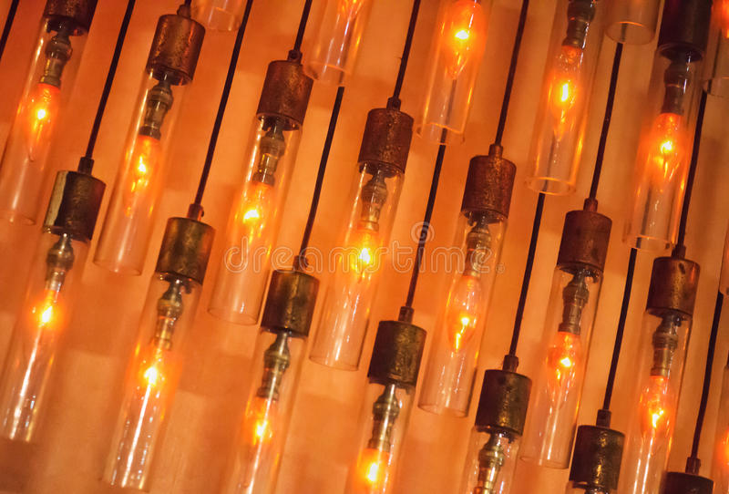 Wall of vintage lamps royalty free stock photography