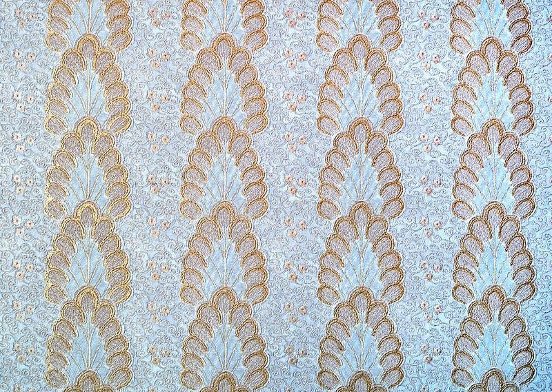 Download Wall Paper Wallpaper With Original Gold Floral Pattern Blue