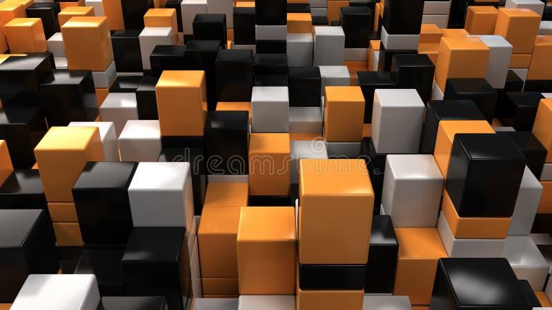 Wall of white, black and orange cubes stock illustration