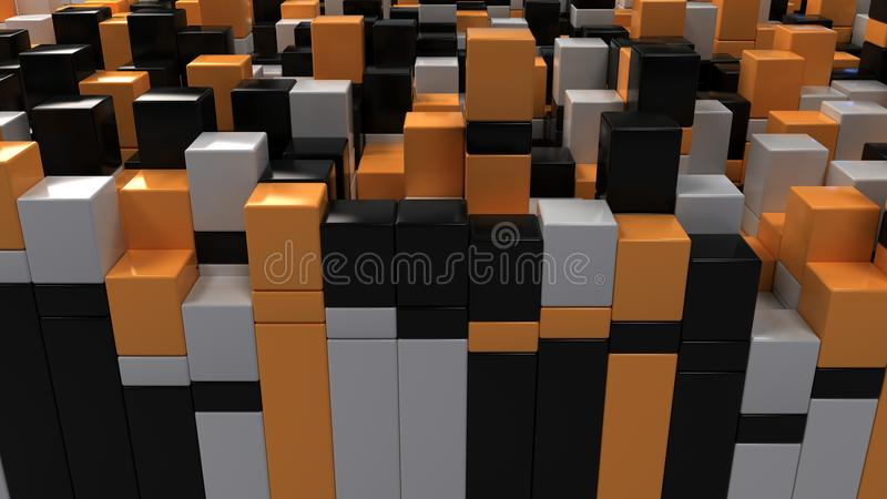 Wall of white, black and orange cubes vector illustration