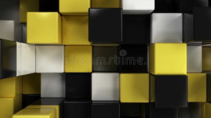 Wall of white, black and yellow cubes vector illustration