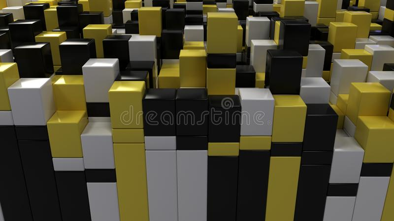 Wall of white, black and yellow cubes stock illustration