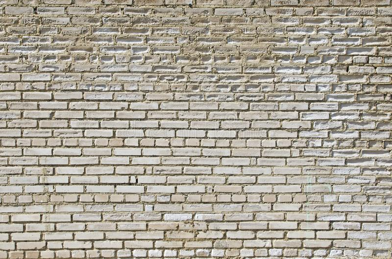 The wall of white silicate brick, which is destroyed by the impact of the fungus and the impact of the environment. stock photo