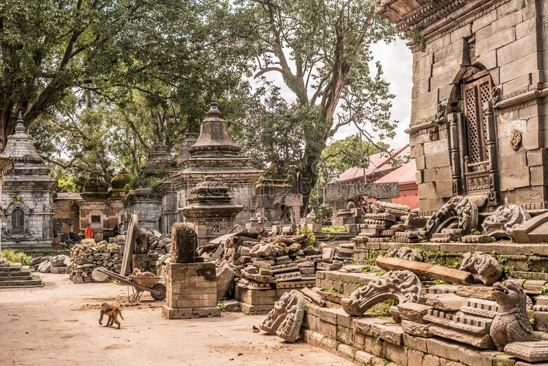 Wall with white small temples around Pashupatinath temple. Kathmandu. Nepal, Asia stock photos