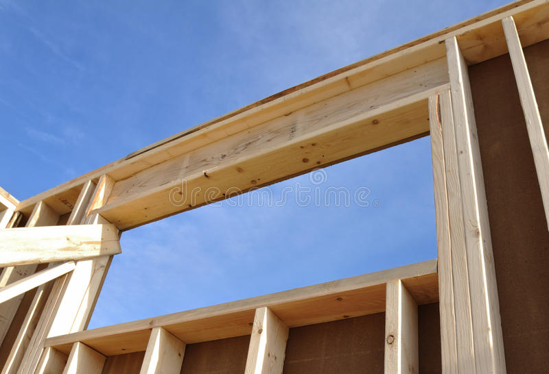 Wall and Window of House at Construction Site stock photo
