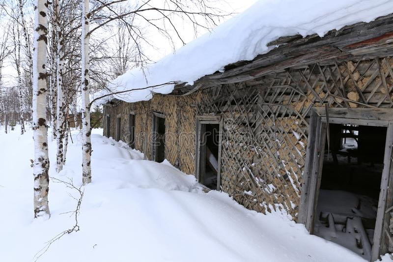 The wall and Windows of an abandoned Soviet prison in winter in. The old prison barracks of Stalin`s 501-construction sites of the GULAG. The construction of the stock photo