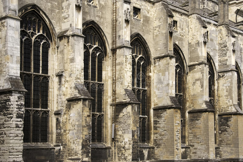 Wall and windows of Canterbury Cathedral royalty free stock images