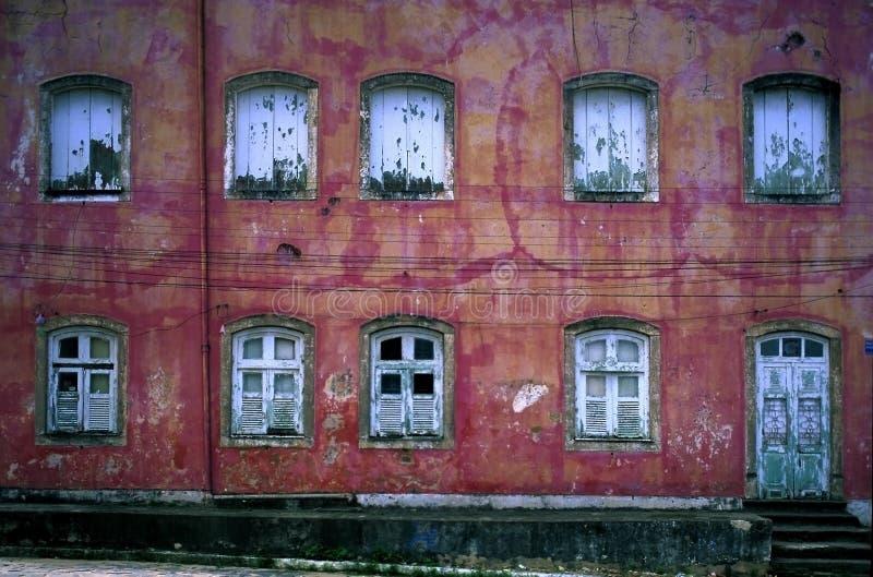 Wall of Windows Colonial Recife, Brazil. 17th Century Colonial Structure in Recife Brazil stock images
